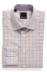 David Donahue Men's Big And Tall Regular Fit Check Dress Shirt Sky Melon