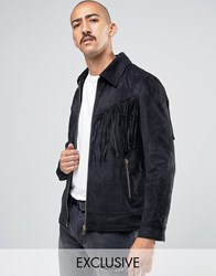 Liquor And Poker Faux Suede Tassel Jacket Black