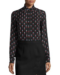 Christopher Kane Pleated Heart Print Blouse Black Size 8