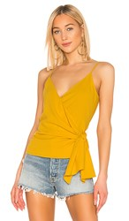 1.State 1. State Wrap Front Knot Detail Top In Yellow. Golden Sun