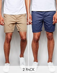Asos 2 Pack Slim Chino Shorts In Mid Length Save 17 Stonenavy