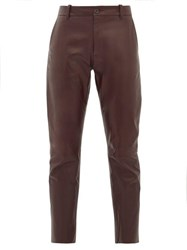 Nili Lotan East Hampton Panelled Leather Trousers Burgundy