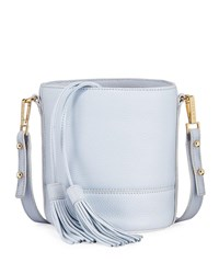 Milly Astor Leather Drawstring Bucket Bag With Tassels Pink
