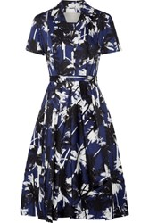 Jason Wu Pleated Printed Cotton Poplin Dress Navy