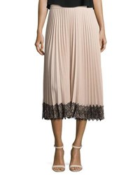 Red Valentino Pleated Lace Trim Midi Skirt Poudre