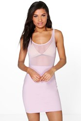 Boohoo Sheer Neck Top Sleeveless Bodycon Dress Lilac