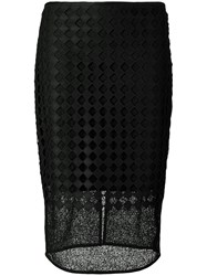 Diane Von Furstenberg Sheer Embroidered Pencil Skirt Women Polyester Spandex Elastane Acetate Viscose 6 Black