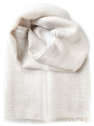 Canali Fringed Scarf Nude And Neutrals