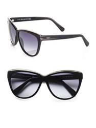 Tod's Metal Rim Classic Cat's Eye Sunglasses Black