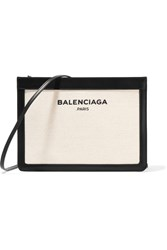 Balenciaga Navy Pochette Leather Trimmed Canvas Shoulder Bag Cream