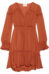 Cinq A Sept Ashburn Ruffled Silk Mini Dress Camel
