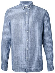Venroy Button Down Striped Shirt Blue
