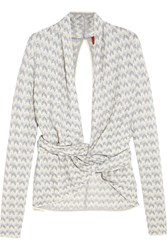 Missoni Cutout Crochet Knit Cashmere Blend Cardigan White