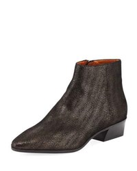 Aquatalia By Marvin K Fire Metallic Pebbled Ankle Boot Black