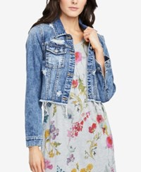 Rachel Roy Cropped Denim Jacket Medium Wash