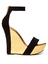 Balmain Bi Colour Leather And Suede Wedge Sandals Black Gold