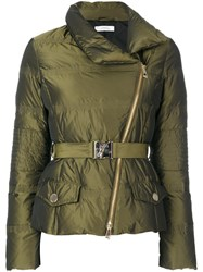 Versace Collection Belted Puffer Jacket Women Feather Down Polyester 44 Green