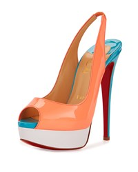 Christian Louboutin Lady Peep Toe Slingback Red Sole Pump Flamingo Women's