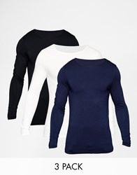 Asos Muscle Long Sleeve T Shirt With Boat Neck 3 Pack Save 21 Multi