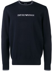 Emporio Armani Embroidered Logo Jumper Blue