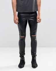Asos Meggings In Faux Leather With Knee Rips Black