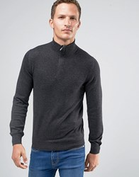Celio Cotton Mix Knit With Zip High Neck Heather Anthracite Grey