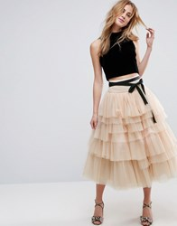 Asos Tulle Midi Skirt With Tiers And Tie Waist Detail Nude Pink