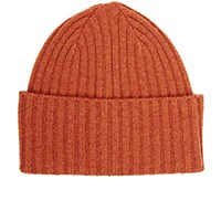 Drakes Drake's Men's Rib Knit Lambswool Cap Orange Red Orange Red