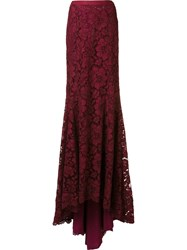 Oscar De La Renta Floor Length Fishtail Skirt Red
