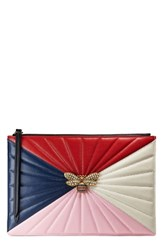 Gucci Bee Zip Pouch Blue Pink Red Navy Multi