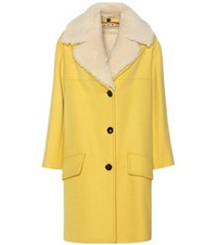Marni Shearling Trimmed Blend Wool Coat Yellow