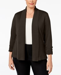 Jm Collection Plus Size Ruched Sleeve Cardigan Only At Macy's Espresso Roast
