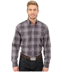 Stetson All Saints Plaid Grey Men's Long Sleeve Button Up Gray