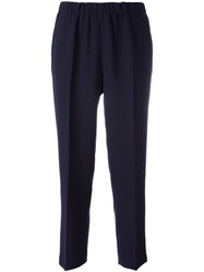 Kiltie Cropped High Waist Trousers Blue