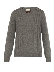 Gucci Gg Embroidered Wool Blend Sweater Light Grey
