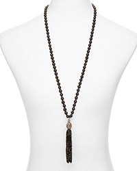 Sequin Color Karma Tassel Necklace 30 Black