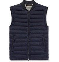 Ermenegildo Zegna Slim Fit Quilted Stretch Microfibre Shell Down Gilet Navy