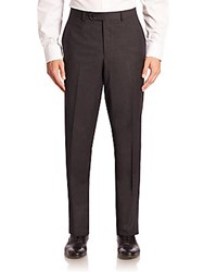 Saks Fifth Avenue Red Collection Checked Wool Trousers Grey
