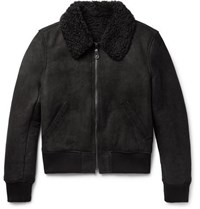 Yves Salomon Slim Fit Shearling Bomber Jacket Black