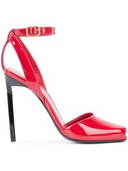 Saint Laurent Edie 110 Peep Toe Sandals Women Leather Patent Leather 39.5 Red