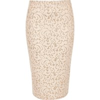 River Island Womens Pink Lace Glitter High Waisted Pencil Skirt