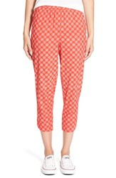 Women's Hinge Print Crop Pants Red Fiery Chrysanthemum Print