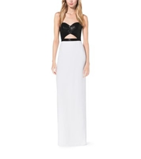 Michael Kors Sequined Cutout Crepe Sable Gown Optic White