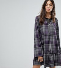 Reclaimed Vintage Inspired Check Smock Mini Dress Purple Check
