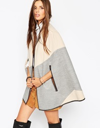 Asos Diagonal Cape With Leather Look Trim Multi