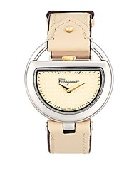 Salvatore Ferragamo Ladies Buckle Analog Watch Beige