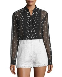 Mcq By Alexander Mcqueen Sheer Pleated Polka Dot Tunic Black White