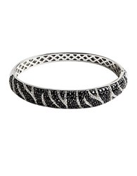 Lord And Taylor Cubic Zirconia Stainless Steel Bangle Bracelet Sterling Silver