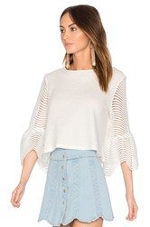Endless Rose Cropped Bell Sleeve Top White