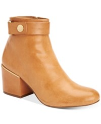 Calvin Klein Women's Josey Block Heel Ankle Booties Women's Shoes Almond Tan